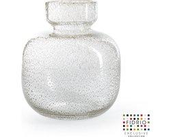 Design vaas Olympia Large - Fidrio BUBBLES CLEAR - glas, mondgeblazen bloemenvaas - hoogte 25 cm --