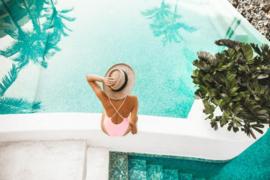 120 x 80 cm - Glasschilderij zwembad - schilderij fotokunst - Vakantiegevoel - foto print op glas