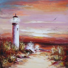 100 x 100 cm - Olieverfschilderij - Vuurtoren Zonsondergang