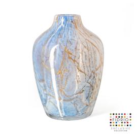 Design vaas Fidrio - glas kunst sculptuur - soroban - golden wire - mondgeblazen - 28 cm hoog --