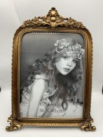 Fotolijst - antiek - rijk versierde barok lijst - kunsthars goud - binnenmaat 30x40 cm