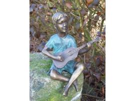 Beeld brons - Jongen met Gitaar - Bronzartes - 19 cm hoog - voor huis en tuin
