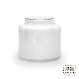 Design vaas Fidrio - glas kunst sculptuur - melkbus - White granulat - mondgeblazen - 18 cm hoog