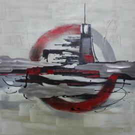 100 x 100 cm - Olieverfschilderij - Abstract Rood
