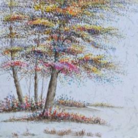 100 x 100 cm - Olieverfschilderij - Bomen - natuur - handgeschilderd