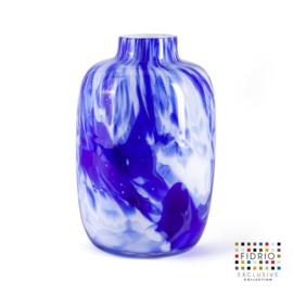 Design vaas Fidrio - Toronto Delfts blue - gekleurd glas - mondgeblazen - 27 cm hoog --