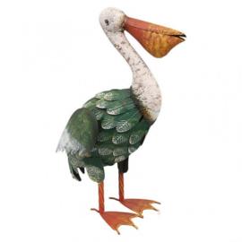 Beeld metaal - Tuinbeeld - beeld pelikaan - 54,5 cm hoog