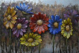 120 x 80 cm - 3D art Schilderij Metaal - Bloemen - handgeschilderd