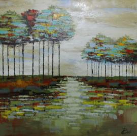 100 x 100 cm - Olieverfschilderij - Bomen Landschap - natuur - handgeschilderd