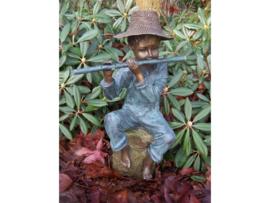 Tuinbeeld - bronzen beeld - Fluitspeler met hoed - Bronzartes - 48 cm hoog
