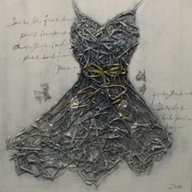 100 x 100 cm - Olieverfschilderij - Zwarte jurk - mode kleding - handgeschilderd