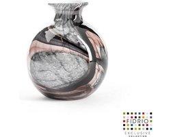 Design vaas Bolvase With Neck - Fidrio ONYX FLAME - glas, mondgeblazen bloemenvaas - diameter 11 cm --