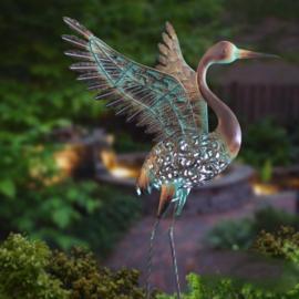 Beeld metaal - Tuinbeeld - beeld solar vogel - 81 cm hoog