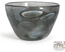 Design schaal Bowl - Fidrio GREY CLOUDY - glas, mondgeblazen - diameter 32 cm hoogte 20 cm
