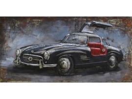 120 x 60 cm - 3D art Schilderij Metaal - Mercedes 190 SL - Oldtimer - handgeschilderd