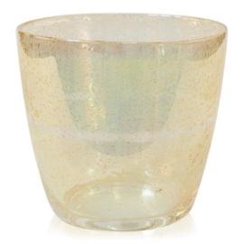 Design vaas Fidrio - glas kunst sculptuur - pot oval - Golden touch - mondgeblazen - 22 cm hoog