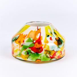 Design vaas Fidrio - Lisboa - Fiorito - gekleurd glas kunst - mondgebazen - 20 cm rond
