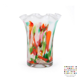 Design vaas Fidrio - glas kunst sculptuur - wave - Mixed colours - mondgeblazen - 18 cm hoog