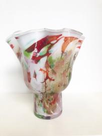 Design vaas Fidrio - glazen sculptuur - Mixed Colours - Wave on base - glas - mondgeblazen - 35 cm hoog --