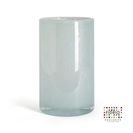 Design vaas Fidrio - glas kunst sculptuur - cilinder - Pacific- mondgeblazen - 19,5 cm hoog