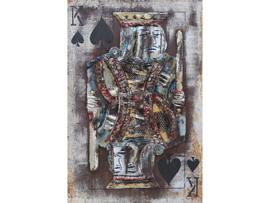 80 x 120 cm - 3D art Schilderij Metaal - schoppen heer spelkaart - handgeschilderd