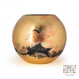 Design vaas Fidrio - glas kunst sculptuur - Bolvase Golden art - handgeschilderd - 25 cm diep