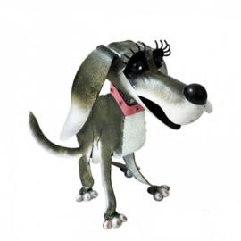 Tuinbeeld  - beeld metalen hond Roxie