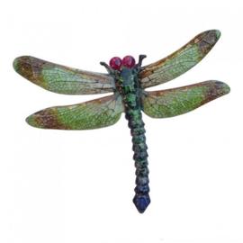 Wanddecoratie 3D metaal libelle groen