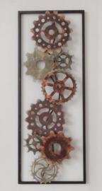 28 x 73 cm - wanddecoratie schilderij metaal - Frame Art - Abstract - Kunst - Tandwielen