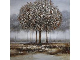 100x100 cm - Olieverf Schilderij boom - Grijs Bos - natuur handgeschilderd