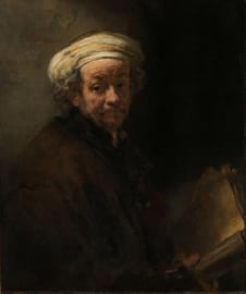 60 x 90 cm - Glasschilderij - schilderij - Rembrandt van Rijn - met goudfolie - foto print op glas --