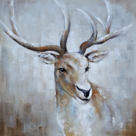100 x 100 cm - Olieverfschilderij - Hert - handgeschilderd
