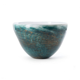 Design vaas Fidrio - glas kunst sculptuur - Bowl - dark ocean - mondgeblazen - 20 cm hoog