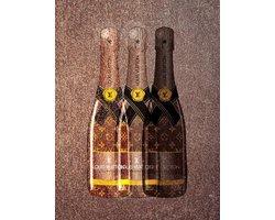 60 x 90 cm - glasschilderij met metaalfolie - Champagne van Louis Vuitton - schilderij fotokunst - verwerkt met goudfolie