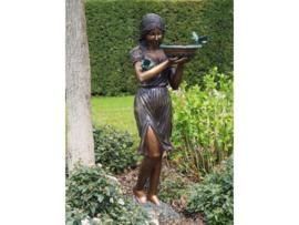 Tuinbeeld - groot bronzen beeld -  Vrouw met schaal fontein - Bronzartes