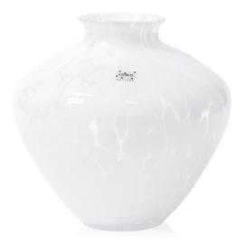 Design vaas Fidrio - glas kunst sculptuur - belly - White granulat - mondgeblazen - 23 cm hoog --