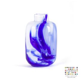 Design vaas Fidrio - Toronto Delfts blue - gekleurd glas - mondgeblazen - 12,5 cm hoog