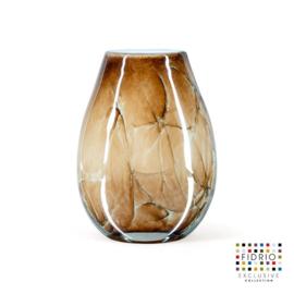 Design vaas Fidrio - glazen sculptuur - Marmi - Organic - glas - mondgeblazen - 20 cm hoog --