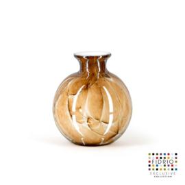 Design vaas Fidrio - glas kunst sculptuur - bolvase - Marmi - mondgeblazen - 11 cm hoog --