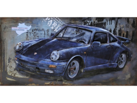 120 x 60 cm - 3D art Schilderij Metaal - Porsche 911 Zwart - oldtimer - handgeschilderd --