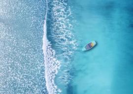 120 x 80 cm - Glasschilderij zee - schilderij fotokunst - oceaan - foto print op glas