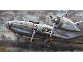140 x 70 cm - 3D art Schilderij Metaal - Propeller Vliegtuig Klassiek - handgeschilderd