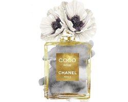 60 x 80 cm - Glasschilderij - coco chanel parfumfles - Fashion