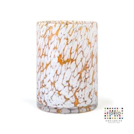 Design vaas Fidrio - glas kunst sculptuur - Cilinder fire - mondgeblazen - 25 cm hoog --