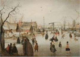 120 x 80 cm - Schilderij Dibond - Schaatsenrijden in een dorp