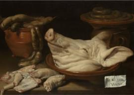 120 x 80 cm - Plexiglas schilderij - Stilleven met varkenskop, varkenspootjes en worst - klassieke kunst afbeelding op acryl - oude meesters!