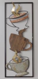 28 x 73 cm - wanddecoratie schilderij metaal - Frame Art - Koffie