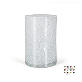 Design vaas Fidrio - glas kunst sculptuur - cilinder - Old opal- mondgeblazen - 23 cm hoog