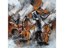 100 x 100 cm - 3D art Schilderij Metaal - Band Cello - handgeschilderd