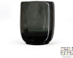 Design vaas - Fidrio GREY - glas, mondgeblazen bloemenvaas - diameter 13 cm hoogte 16 cm